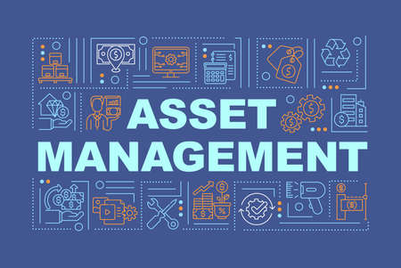 Asset management word concepts banner. Business finance. Economy plan. Infographics with linear icons on dark blue background. Isolated typography. Vector outline RGB color illustration 일러스트
