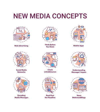 New media concept icons set. Media literacy idea thin line RGB color illustrations. Web advertising. Mobile apps. Thinking before sharing. Vector isolated outline drawings. Editable stroke Vecteurs