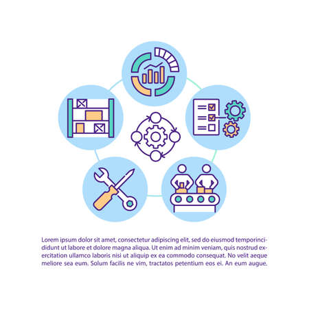 Industrial operating and factory organization concept icon with text. Business service PPT page vector template. Brochure, magazine, booklet design element with linear illustrations 일러스트