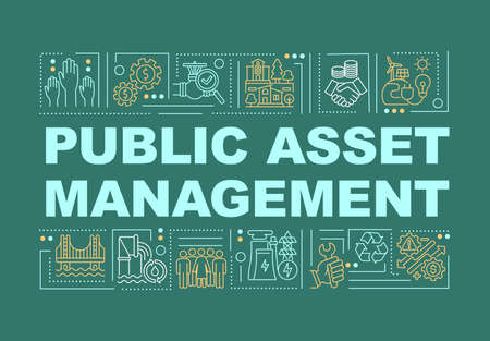 Public asset management word concepts banner. Managing government finance. Infographics with linear icons on green background. Isolated typography. Vector outline RGB color illustration