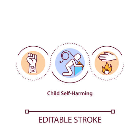 Child self harming concept icon. Teenager cut wound. Self mutilation. Physical pain. Child safety idea thin line illustration. Vector isolated outline RGB color drawing. Editable stroke