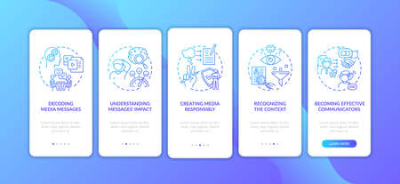 Media literacy features onboarding mobile app page screen with concepts. Decoding, effective communication walkthrough 5 steps graphic instructions. UI vector template with RGB color illustrations
