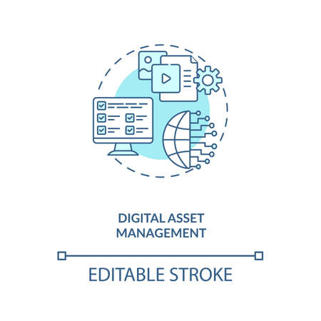 Digital asset management concept icon. Asset management type idea thin line illustration. Grouping in categories. Central location. Vector isolated outline RGB color drawing. Editable stroke Vektorové ilustrace
