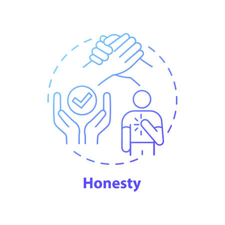 Honesty concept icon. Journalistic ethics standards idea thin line illustration. Seeking truth and reporting it. Serving public with thoroughness. Vector isolated outline RGB color drawing Vector Illustration