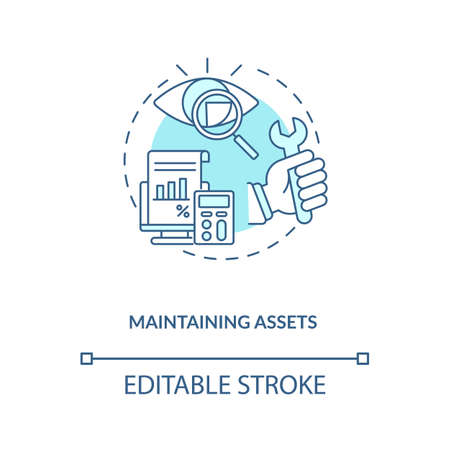 Maintaining assets concept icon. Asset management component idea thin line illustration. Repairs and maintenance. Preventing losses. Vector isolated outline RGB color drawing. Editable stroke