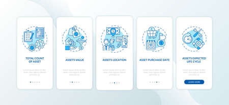 Assets inventory elements onboarding mobile app page screen with concepts. Purchase date, valuation walkthrough 5 steps graphic instructions. UI vector template with RGB color illustrations