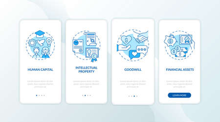 Intangible investment types onboarding mobile app page screen with concepts. Intellectual property, finance walkthrough 4 steps graphic instructions. UI vector template with RGB color illustrations