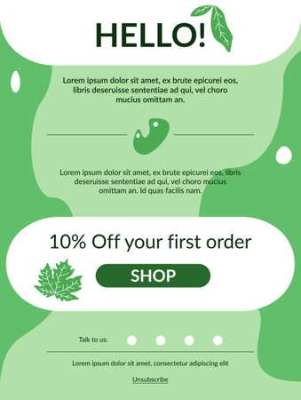 First order vector newsletter template. Simple style promotional banner. Trendy commercial flyer design, contemporary poster for advertisement. Creative promo e-mail layout with abstract elements