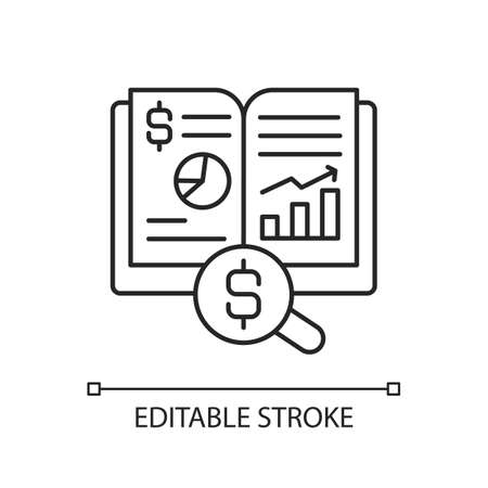Ledger linear icon. Principal book for recording and totaling economic transactions. Thin line customizable illustration. Contour symbol. Vector isolated outline drawing. Editable stroke