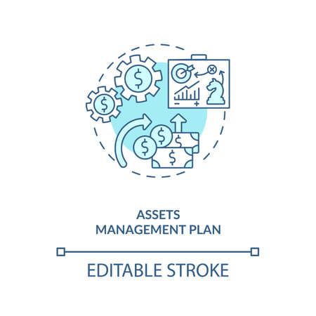 Assets management plan concept icon. AM benefit idea thin line illustration. Calculating costs. Managing organization infrastructure. Vector isolated outline RGB color drawing. Editable stroke
