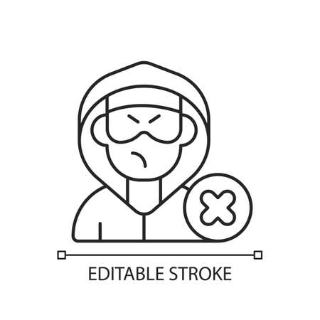 Block or mute harasser linear icon. Ban internet troll. Stop anonymous online stalker. Thin line customizable illustration. Contour symbol. Vector isolated outline drawing. Editable stroke