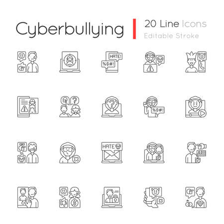 Cyberbullying linear icons set. Online harassment. Social media hate comments. Offensive e-mail. Customizable thin line contour symbols. Isolated vector outline illustrations. Editable stroke