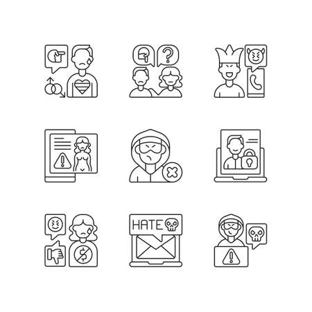 Social media bullying linear icons set. LGBT cyberbullying. Talk to someone. Help for abuse victim. Customizable thin line contour symbols. Isolated vector outline illustrations. Editable stroke