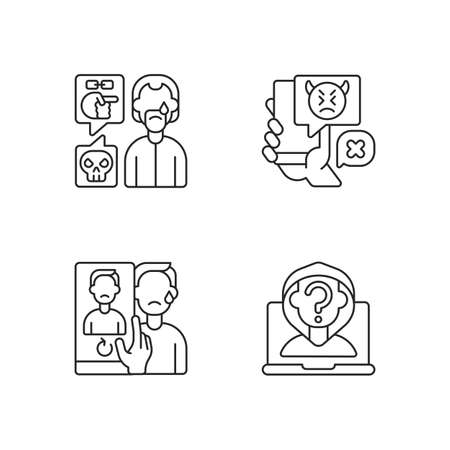 Cyberbullying and discrimination linear icons set. Racial bullying. Anonymous stalker, doxing. Customizable thin line contour symbols. Isolated vector outline illustrations. Editable stroke