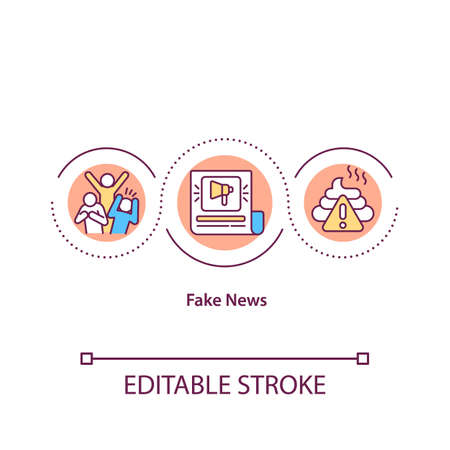 Fake news concept icon. False facts in publication. Misleading online article. Social propaganda. Journalism idea thin line illustration. Vector isolated outline RGB color drawing. Editable stroke