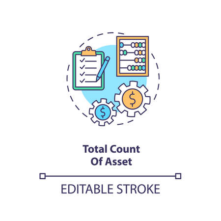 Total asset count concept icon. Assets inventory element idea thin line illustration. Stockholders equity and total liabilities sum. Vector isolated outline RGB color drawing. Editable stroke