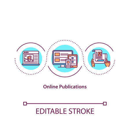 Online publications concept icon. Internet article. Digital content. Electronic book. Journalism idea thin line illustration. Vector isolated outline RGB color drawing. Editable stroke 向量圖像