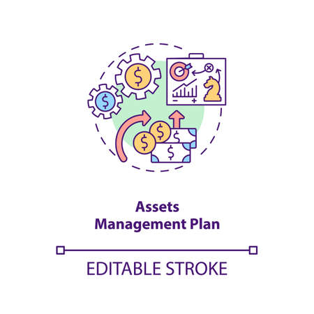 Assets management plan concept icon. AM benefit idea thin line illustration. Calculating life-cycle costs. Long-term financial planning. Vector isolated outline RGB color drawing. Editable stroke
