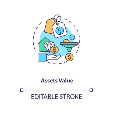 Assets valuation concept icon. Assets inventory element idea thin line illustration. Determining fair market value. Identifying right price. Vector isolated outline RGB color drawing. Editable stroke