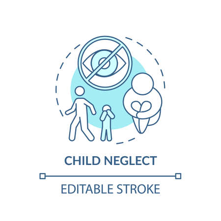 Child neglect turquoise concept icon. Kid mistreatment. Poverty problem. Parental negligence. Child safety idea thin line illustration. Vector isolated outline RGB color drawing. Editable stroke