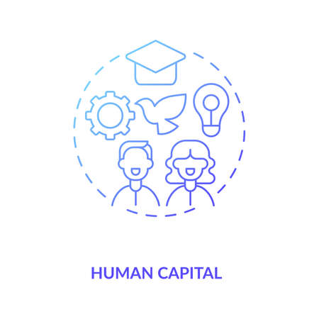 Human capital concept icon. Intangible assets type idea thin line illustration. Improving quality. Ability performing labor. Producing economic value. Vector isolated outline RGB color drawing