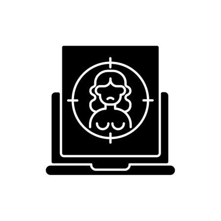 Online sexual harassment black glyph icon. Victim of abuse. Social media harassment. Naked picture, image, photo of woman. Silhouette symbol on white space. Vector isolated illustration