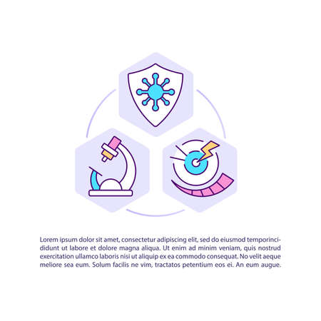 Research and treatment concept icon with text. Infection control. Antibiotic-resistant germs. PPT page vector template. Brochure, magazine, booklet design element with linear illustrations Ilustración de vector