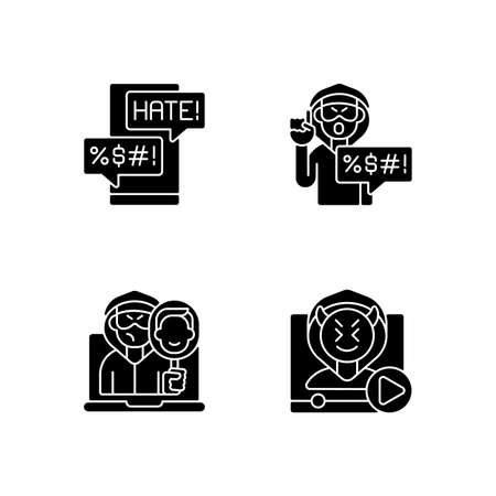 Online bullying black glyph icons set on white space. Messenger cyberbullying. Hate speech. Video shaming. Online impersonation. Offensive comments. Silhouette symbols. Vector isolated illustration
