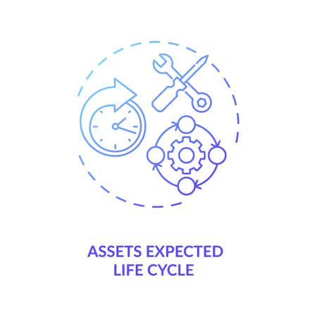 Assets expected life cycle concept icon. Assets inventory element idea thin line illustration. Lifecycle management. Optimizing profit process. Vector isolated outline RGB color drawing