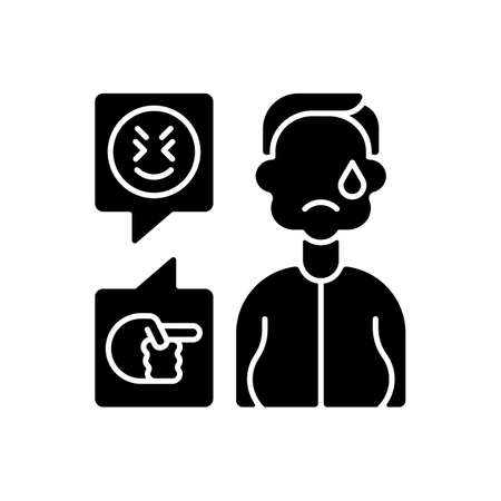 Weight-based cyberbullying black glyph icon. Bodyshaming online. Offensive comment to overweight person. Upset victim of cyberharassment. Silhouette symbol on white space. Vector isolated illustration