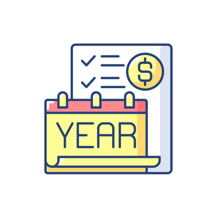 Year end closing procedure RGB color icon. Reviewing all accounts to ensure that they accurately reflect the activities for the fiscal year. Isolated vector illustration