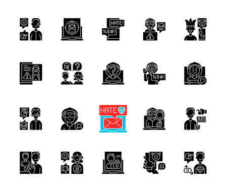 Cyberbullying black glyph icons set on white space. Online harassment. Social media hate comments. Offensive e-mail. Prank phone call. Silhouette symbols. Vector isolated illustration