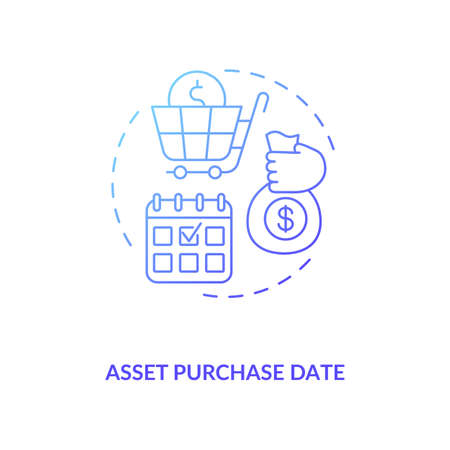 Asset purchase date concept icon. Assets inventory element idea thin line illustration. Financial accounting. Initial acquisition. Posting transactions. Vector isolated outline RGB color drawing Ilustracje wektorowe
