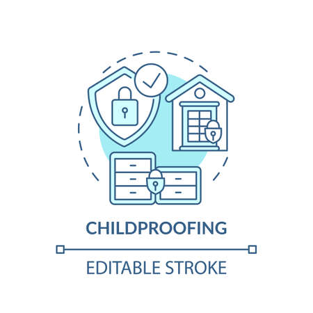 Childproofing turquoise concept icon. Babyproofing home. Secure home for children, baby, toddler. Child safety idea thin line illustration. Vector isolated outline RGB color drawing. Editable stroke
