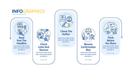 False news checking vector infographic template. Bewaring confirmation bias presentation design elements. Data visualization with 5 steps. Process timeline chart. Workflow layout with linear icons Ilustracje wektorowe
