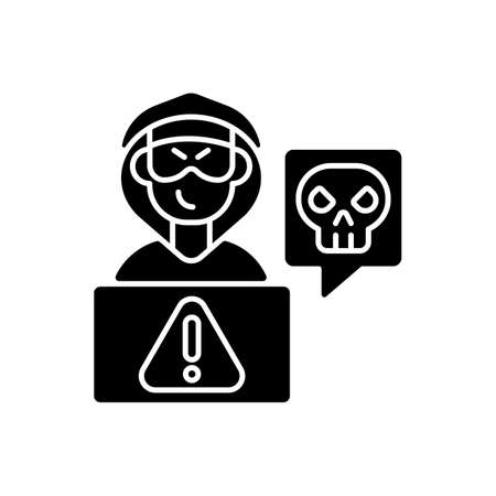Cyberstalking black glyph icon. Stalking online from anonymous person. Online hate. Internet hate comments from troll, harasser. Silhouette symbol on white space. Vector isolated illustration