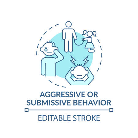 Aggressive or submissive behavior turquoise concept icon. Sign of domestic abuse, parental neglect. Child safety idea thin line illustration. Vector isolated outline RGB color drawing. Editable stroke