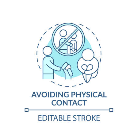 Avoiding physical contact turquoise concept icon. Sign of domestic violence. Symptom of abuse. Child safety idea thin line illustration. Vector isolated outline RGB color drawing. Editable stroke