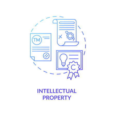Intellectual property concept icon. Intangible asset idea thin line illustration. Mental-work products. Literary and artistic works. Copyrights, trademarks. Vector isolated outline RGB color drawing Ilustración de vector