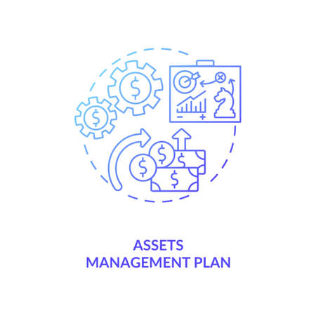 Assets management plan concept icon. AM benefit idea thin line illustration. Calculating life-cycle costs. Delivering agreed service standard. Vector isolated outline RGB color drawing