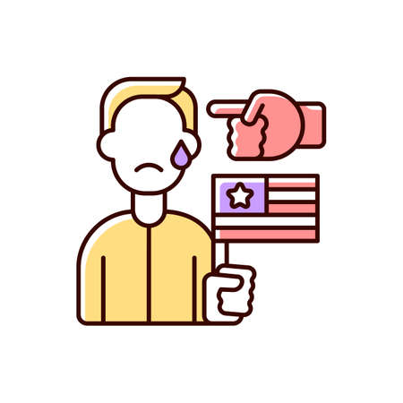 Political cyberbullying RGB color icon. Offensive comment. Victim of discrimination. Shaming for politics. Cyberharassment and online hate. Threat to upset person. Isolated vector illustration