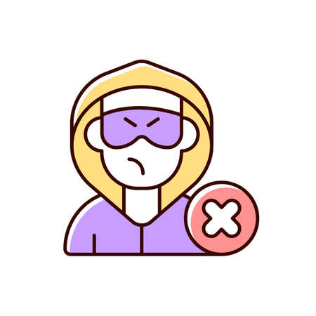 Block or mute harasser RGB color icon. Ban internet troll. Cyberbullying and cyberharassment. Stop anonymous online stalker. Prevent assault. Abuse precaution. Isolated vector illustration