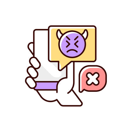 Social media cyberbullying RGB color icon. Teenager cyberharassment. Hurtful online comments. Internet hate from trolls. Negative messages online. Offensive mail. Isolated vector illustration
