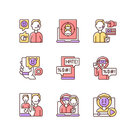 Online harassment and bullying RGB color icons set. Weight-base cyberbullying and bodyshaming. Internet harassment. Political discrimination. Hate comment. Isolated vector illustrations