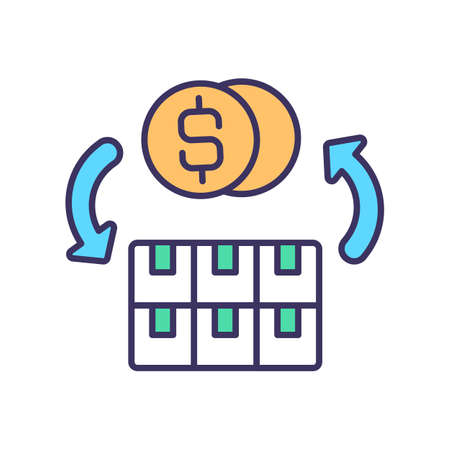 Selling and transferring assets RGB color icon. Tangible and intangible capital. Revenue profits. Inventory and equipment. Stock sale. Trading activity. Isolated vector illustration Illusztráció