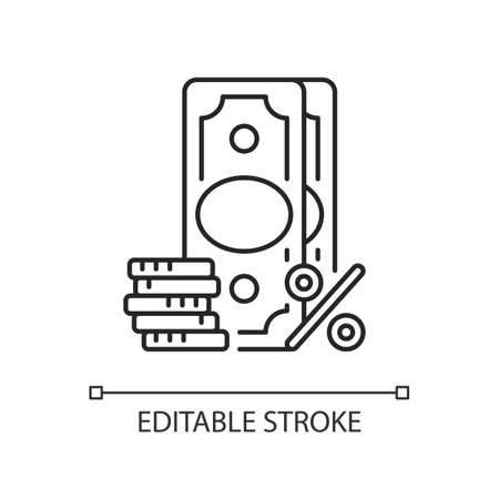 Surcharge linear icon. Extra fee and tax. Selling price percentage. Checkout fee. Thin line customizable illustration. Contour symbol. Vector isolated outline drawing. Editable stroke