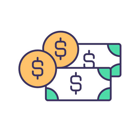 Money income RGB color icon. Wages and salaries. Financial inflows. Capital investment in business. Stocks and bonds. Entrepreneurial and property income. Isolated vector illustration Ilustracje wektorowe