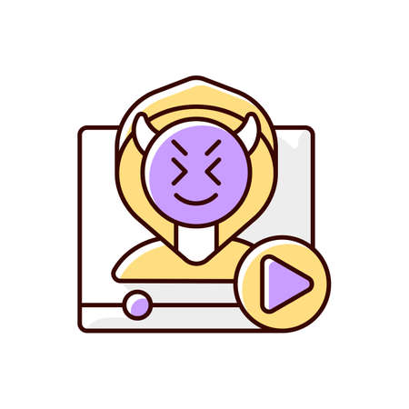 Video shaming RGB color icon. Cyberbullying and cyberharassment. Watch online content. Internet troll. Social media negativity, offensive message broadcast. Isolated vector illustration