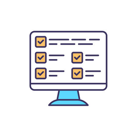 Database RGB color icon. Information collection. Data records. Computer system. Digital asset management. Storing, sharing and organizing files. Electronic access. Isolated vector illustration