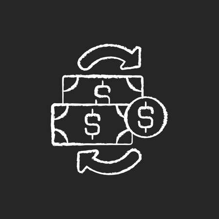 Financial transactions chalk white icon on black background. Agreement between buyer and seller to exchange asset for specific amount of money payment. Isolated vector chalkboard illustration